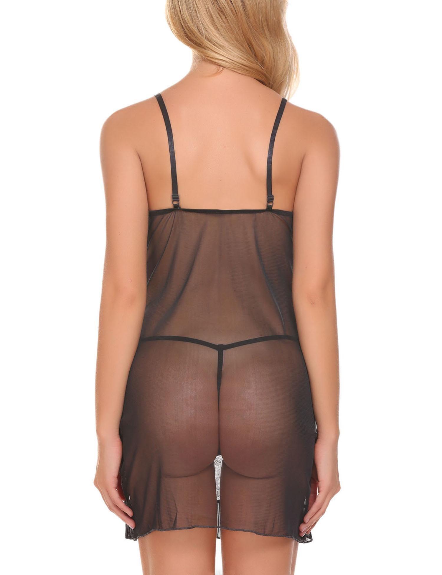 Pintmi Women V-Neck Lace Babydoll Mesh Chemise Sexy Lingerie Black L