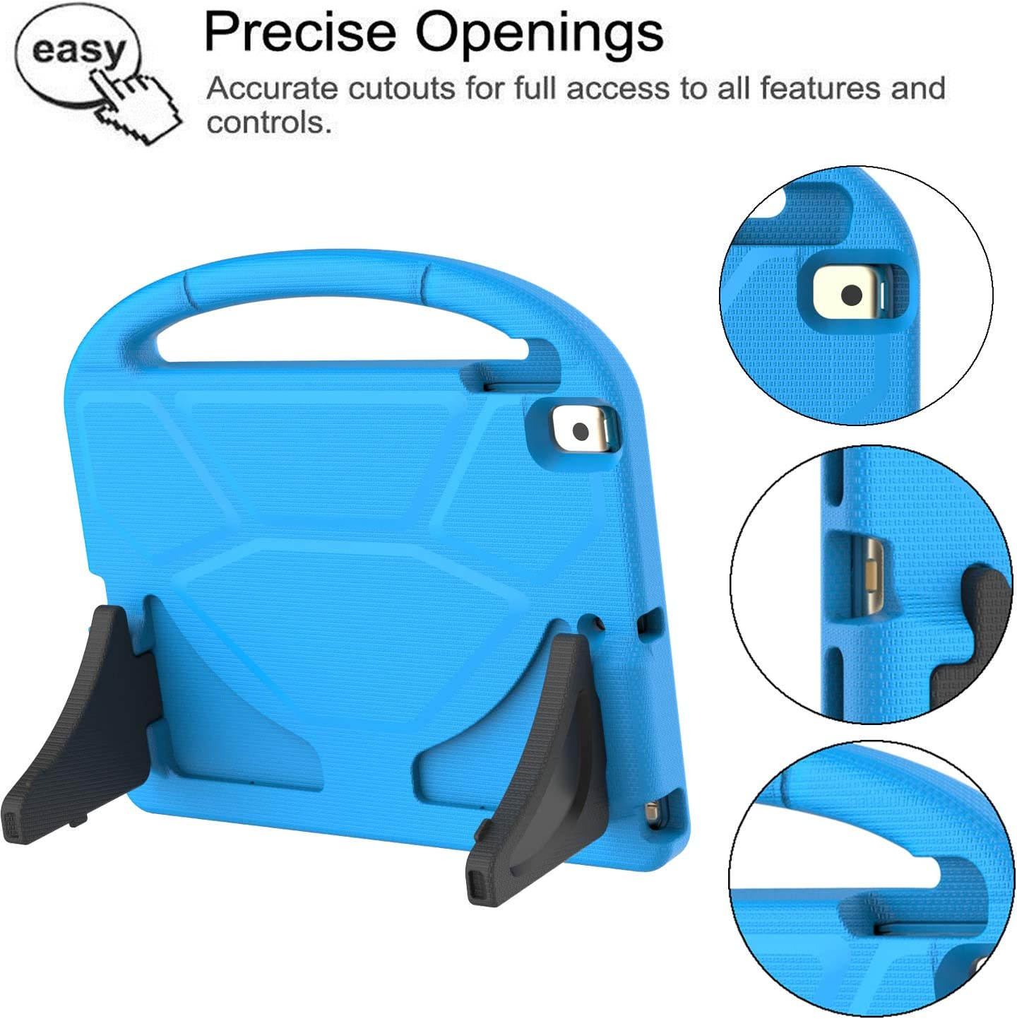 Built-in Screen Protector Shockproof Light Weight Friendly Handle Stand Case for Apple New iPad 10.2 inch 2019 7th Gen Latest Model TIRIN Kids Case for New iPad 10.2 2019 Case for Kids Blue