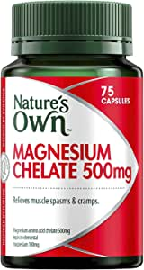 Nature's Own Magnesium Chelate 500mg - Supports Nerve and Muscle Function - Promotes Healthy Heart and Bones, 75 Capsules