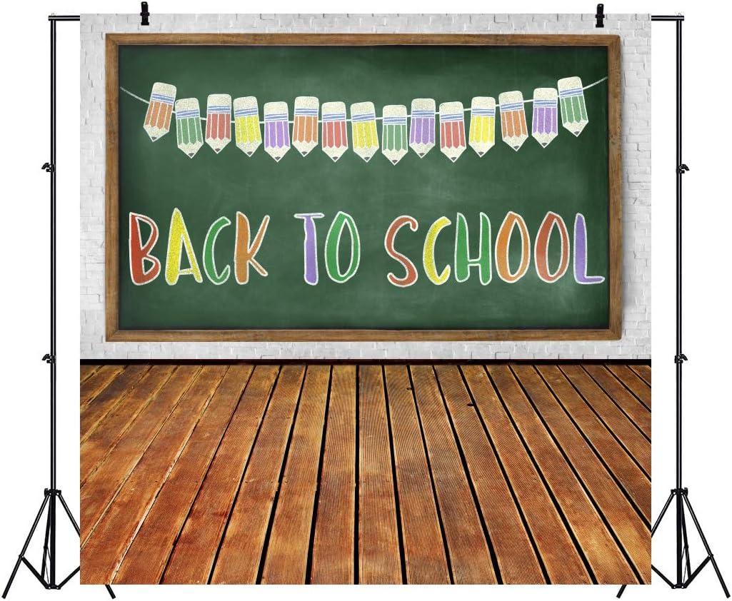 Baocicco 10x10ft Back to School Backdrop Wooded Floor Backdrop Pencils Chalkboard Photography Background Wallpaper Decor School Opening Day New Term Children Students Artistic Portrait Studio Prop