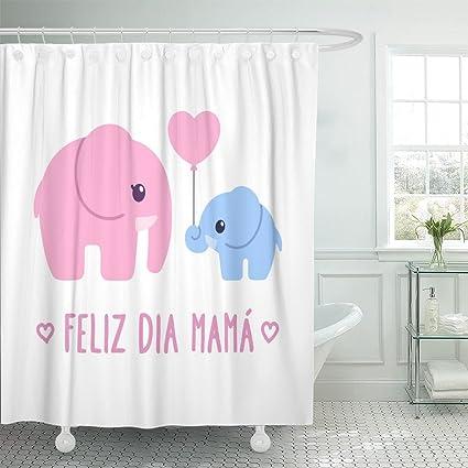 9061ecd74 Emvency Shower Curtain Feliz Dia Mama Spanish for Happy Mother s Day Cute  Cartoon Baby Elephant to