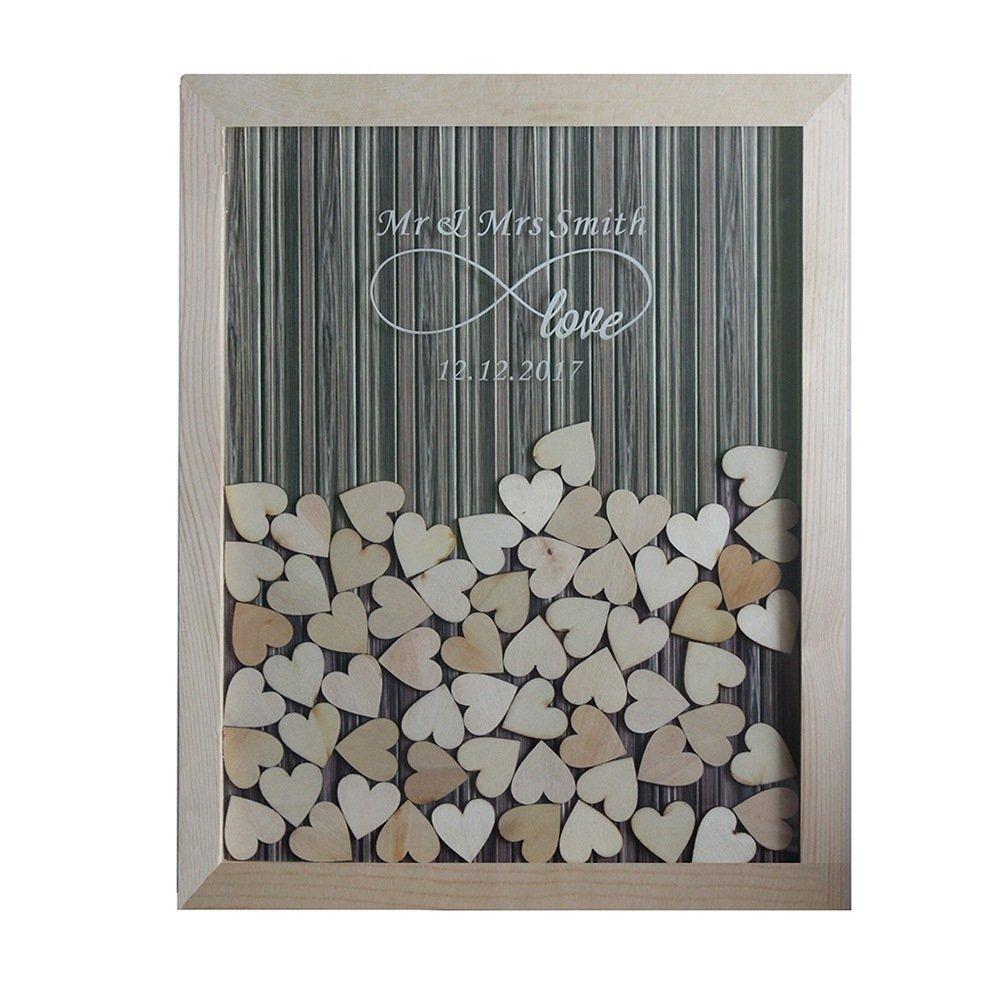 Tamengi Personalized Wedding Guest Book,Custom Name & Date Infinite Love Guestbook Alternative Wood Drop Top Frame Wedding Guest Book Box Rustic Unique 120Pcs Hearts Decor