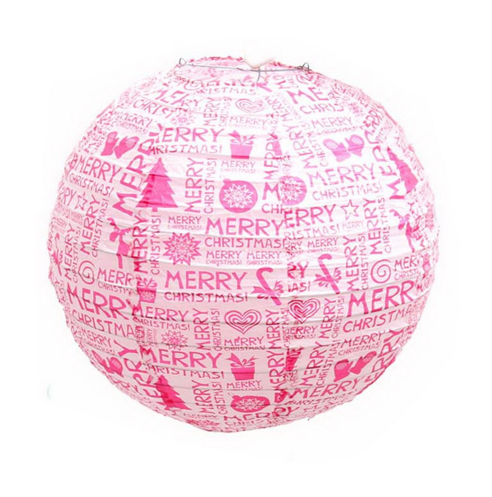 Christmas Decorations Window Shop Roof Layout Props Pink Letters Lantern, 2 Pack