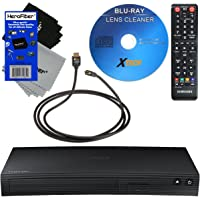 Samsung BD-J5100 Curved Disk Blu-ray Player with Remote Control + Xtech High-Speed HDMI Cable w/Ethernet + HeroFiber Ultra Gentle Cleaning Cloth