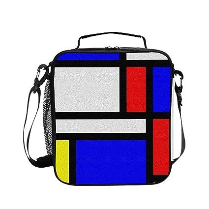 6c82edadc7f7 Amazon.com: Insulated Lunch Tote Bag Reusable Artistic Mondrian ...