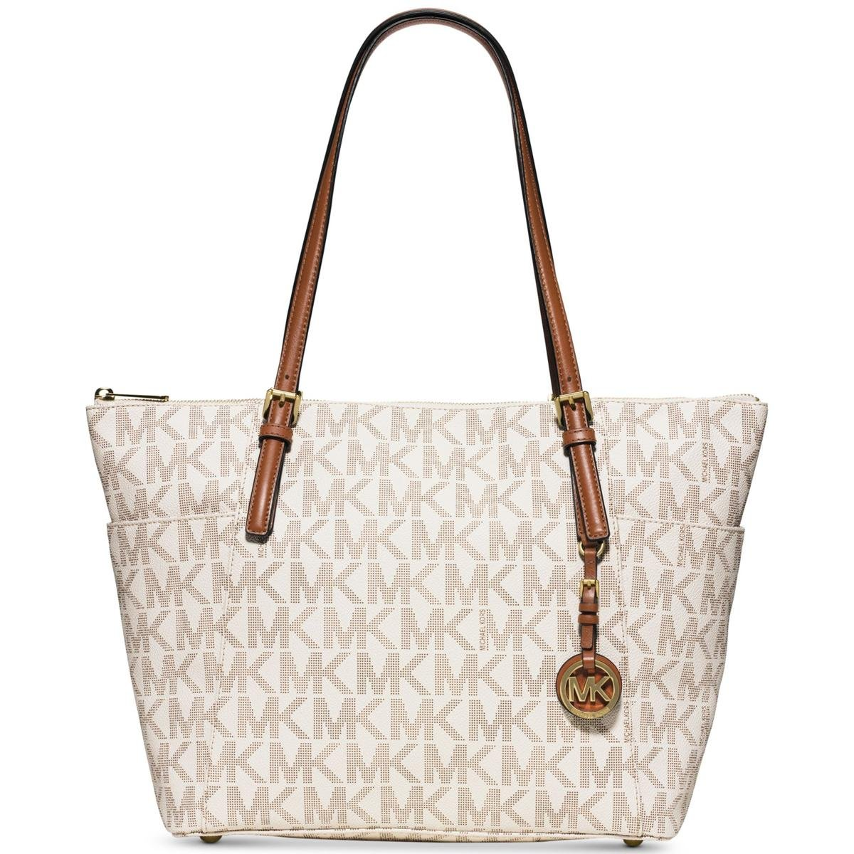MICHAEL Michael Kors Jet Set Travel Medium Top Zip Multifunction Tote (Vanilla)