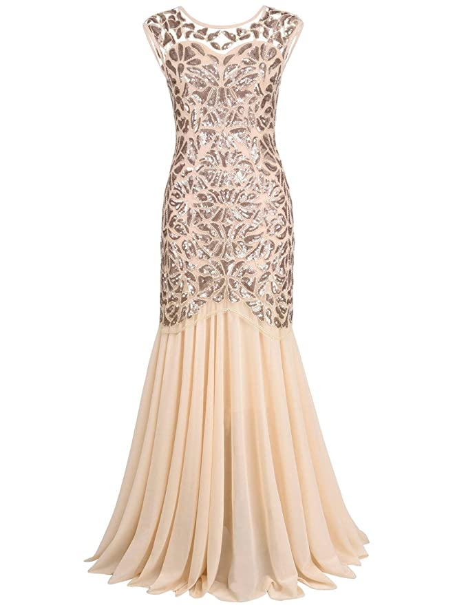 a1fd5a92170 PrettyGuide Women  s 1920s Black Sequin Gatsby Maxi Long Evening Prom Dress