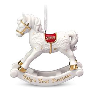 Hallmark Keepsake Ornament 2019 Year Dated Baby's First Christmas Rocking Horse Porcelain