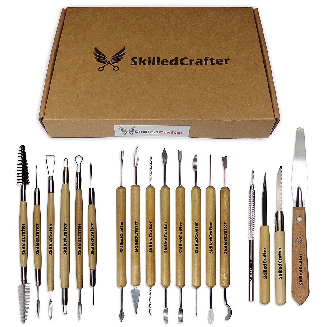 Skilled Crafter Clay Modeling Tools with Zip-Up Case. 18 Double Ended, Quality Birch Wood & Stainless Steel Carvers for Sculpting & Detailing. Best for Sculpey, Polymer, Porcelain, Ceramic, Dough, Wax 4336842209