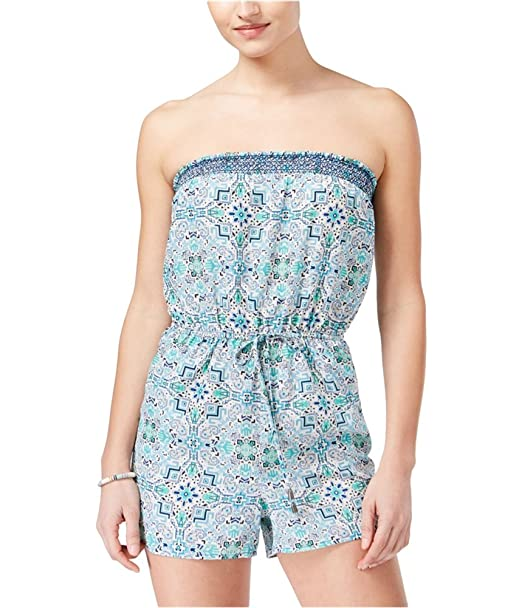 cec7cd099de Amazon.com  BeBop Womens Smocked Strapless Romper Jumpsuit ivoryblue ...