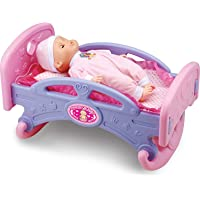 Liberty Imports Mommy and Baby My First Rocking Bed for Dolls - Baby Cradle Toy Furniture and Play Accessories - Fits 14 inches Dolls