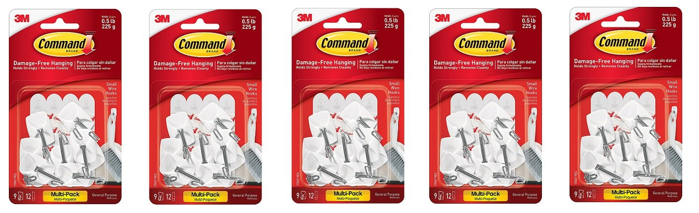 Command Wire Hooks Value Pack, Small, White, 9-Hooks (17067-9ES) (5-PACK)