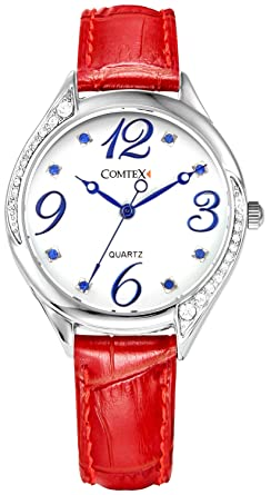 192538a1ccaf Comtex 腕時計 レディース レッド 革バンド アナログ表示 クオーツ ウオッチ 女性時計 ブルー