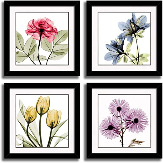 Amazon Com Hlj Tulip Rose Wall Art Painting In Golden Red Vivid Flower Home Wall Floral Canvas Print In 4 Panels Frames 12x12inchesx4pcs 30x30cmx4pcs Colorful Posters Prints