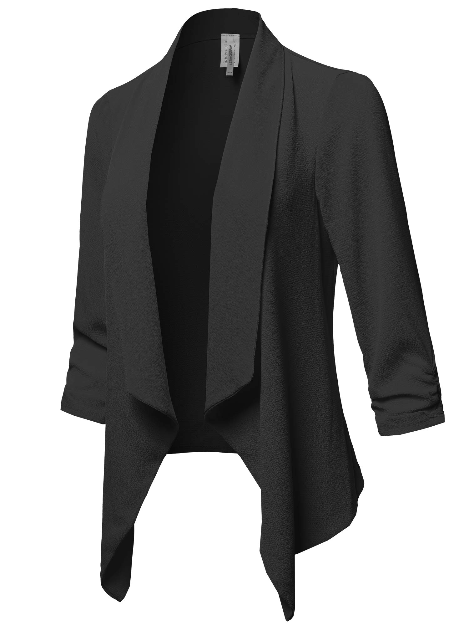 Awesome21 Solid Lightweight 3/4 Ruched Sleeves Thin Cardigan Blazer Black S