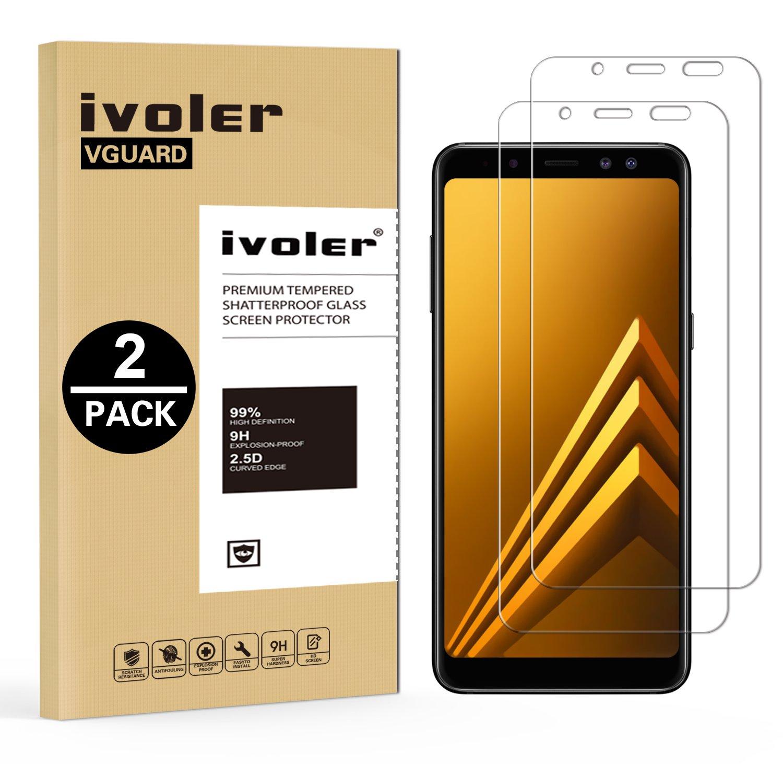 iVoler [2 Unidades] Protector de Pantalla Compatible con Samsung Galaxy A8 2018, Cristal Vidrio Templado Premium [Dureza 9H] [Anti-Arañazos] [Sin Burbujas]: ...
