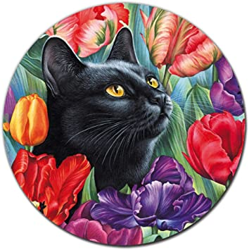 SuoLong[20% Larger] Black Cat Floral Watercolor Round Mouse Pad Cute Cat Lover Gift Desk Accessories Decor for Women Computer Mousepad School Supplies 8.7 x 8.7 Inches