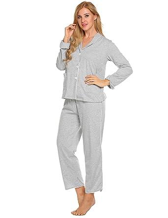 watch 4e35d 1c94c ADOME Damen Schlafanzug Baumwolle lang Zweiteiliger Pyjama Set Knopfleiste  Schwarz/Grau/Blau