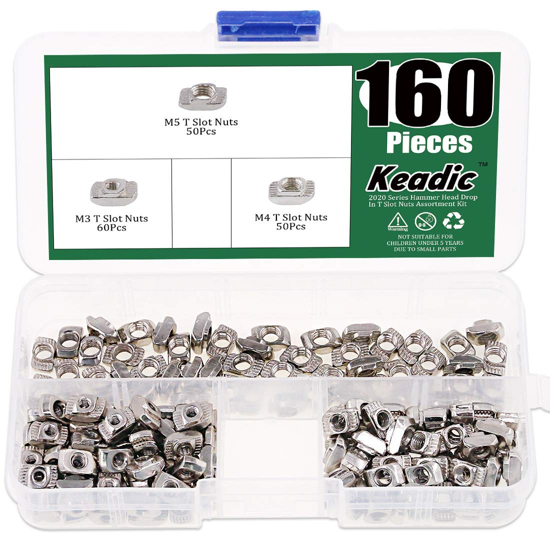 Keadic 160Pcs 2020 Series T Nuts, M3 M4 M5 Hammer Head Fastener Drop in T Slot Nut Assortment Kit with Organizing Box for Aluminum Profile - Carbon Steel Nickel Plated