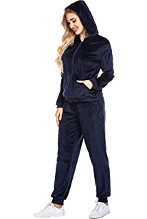 New Womens Velour Full Tracksuit Hoodie Trousers 8 10 12 14