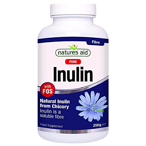 Natures Aid Inulin Powder, 250 g (from Chicory Root, 100% Natural with FOS, High Fibre, Low Calorie, Prebiotic, Vegan Society Approved, Made in the UK)