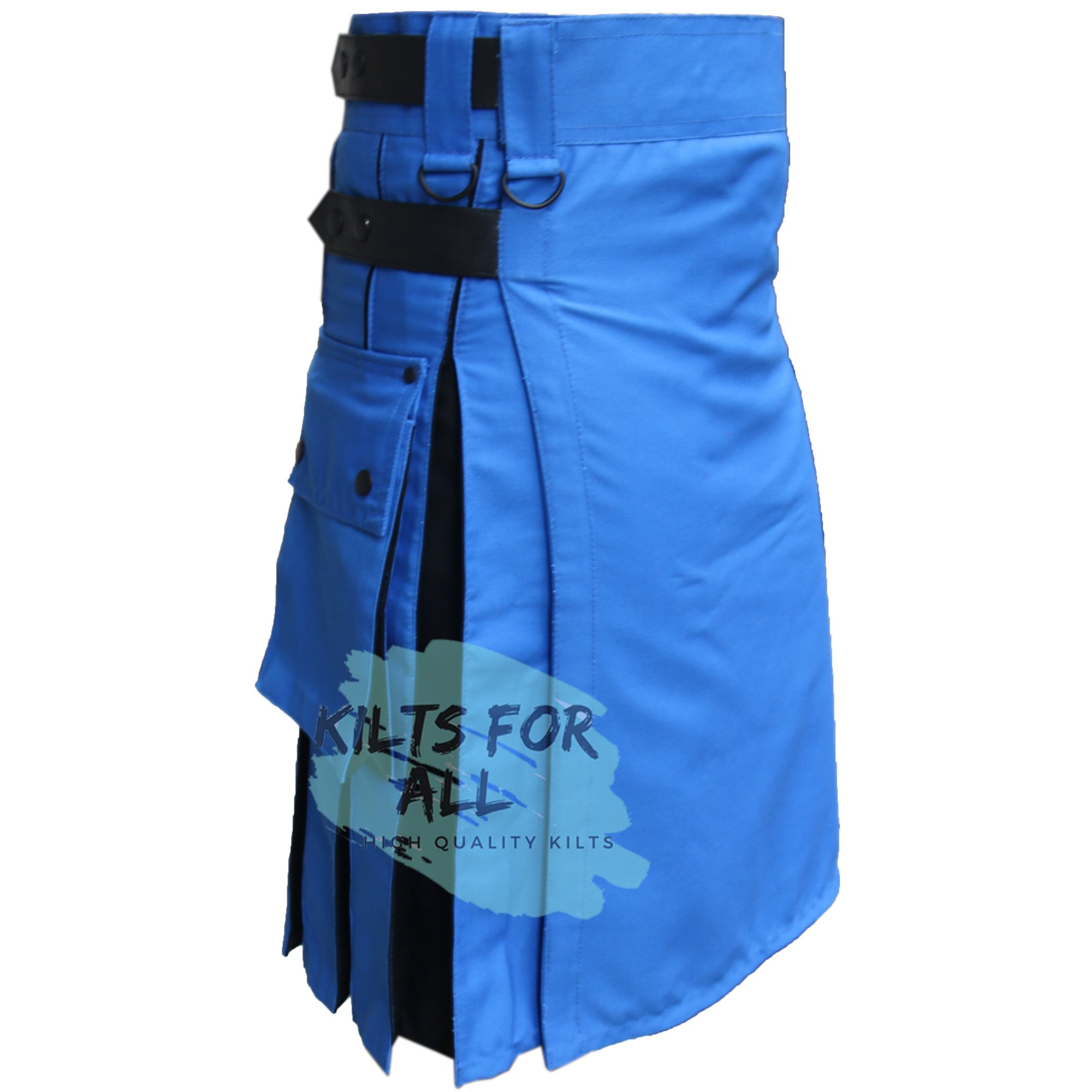 Blue Hybird Leather Straps Utility Kilts For Active Men (36'')