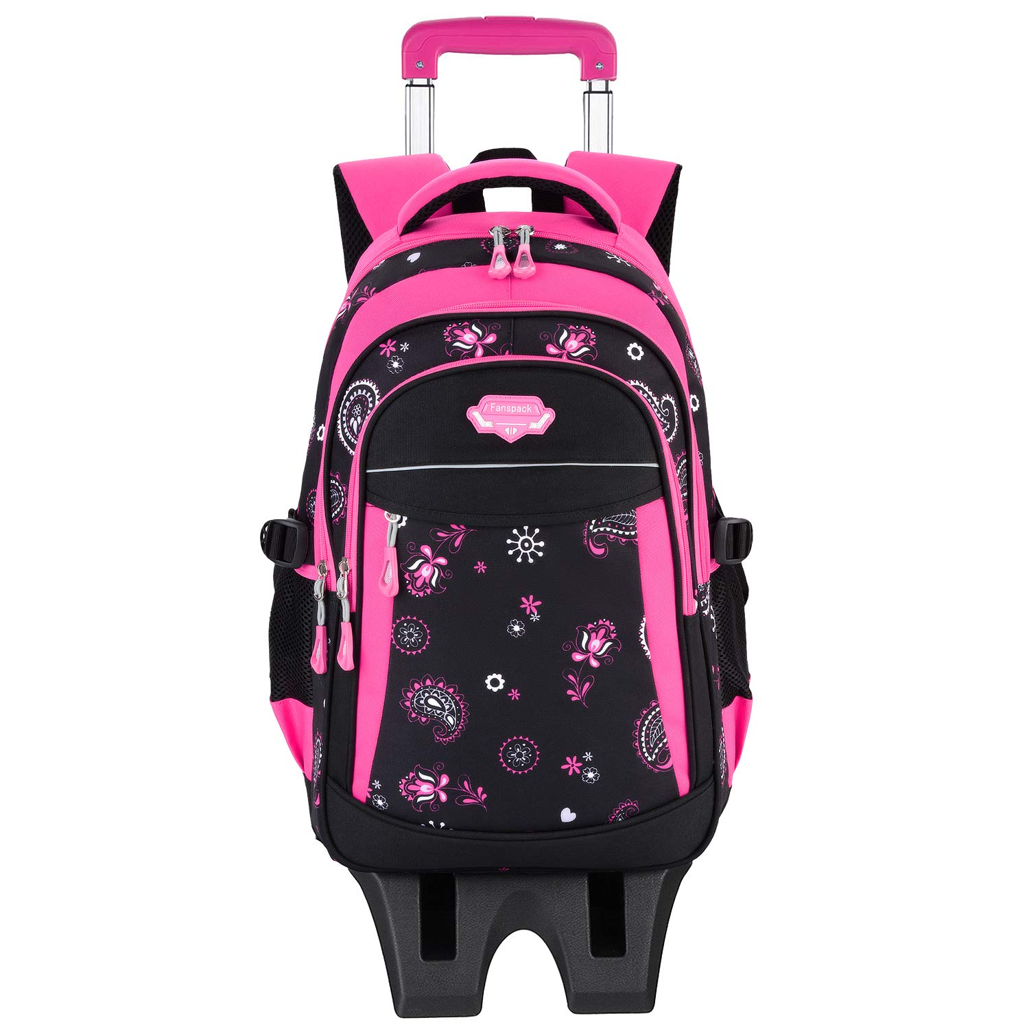 Rolling Bacpack, Fanspack Girls Backpack with 6 Wheels School Bags Rolling Bookbags Kids Wheeled Backpack for School by Fanspack