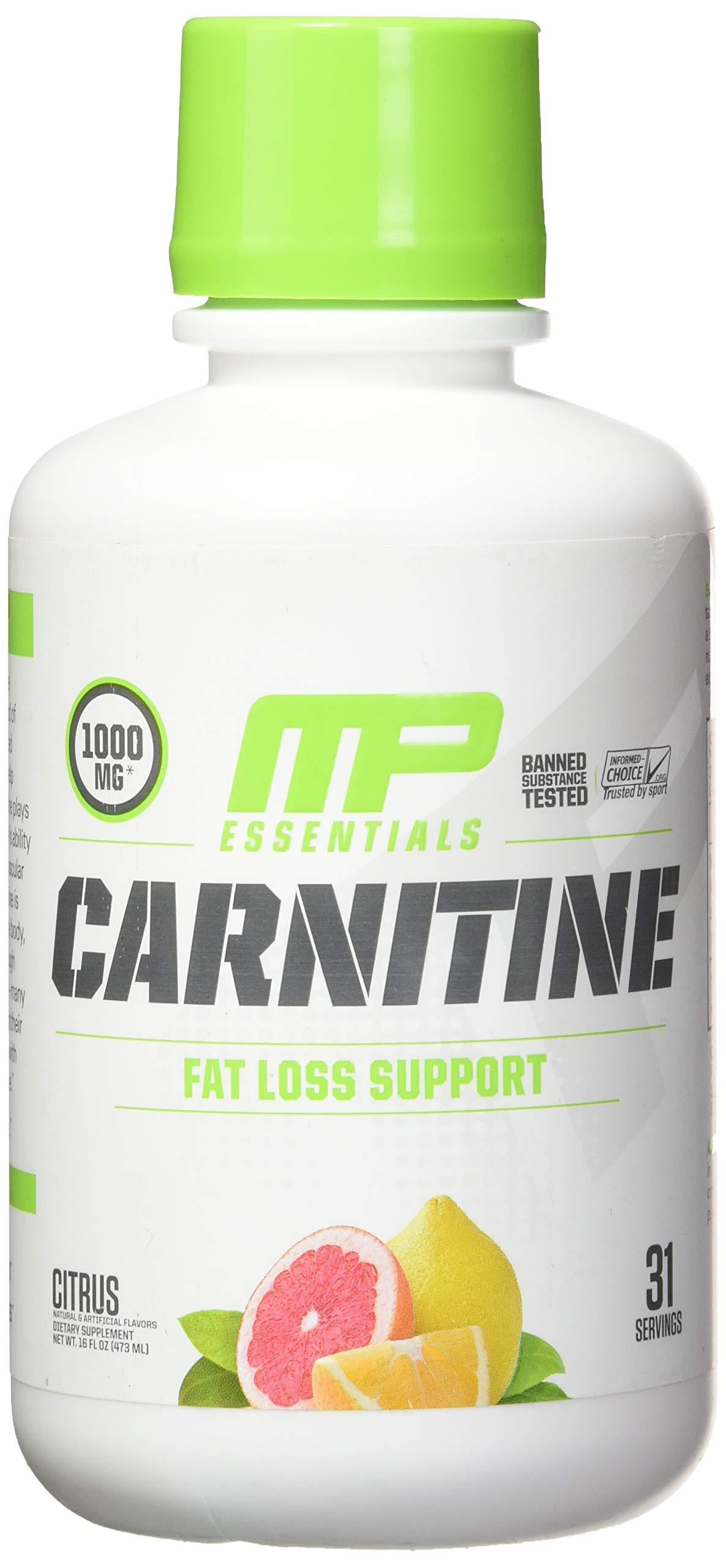 MusclePharm Essentials Carnitine Liquid, 1000mg Carnitine Blend, Citrus, 31 Servings