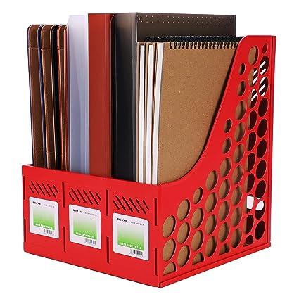 Revistero revistero de plástico con 3 compartimentos de almacenaje para escritorio bandeja correo archivador de carpetas
