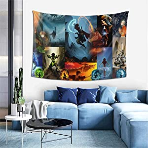 Tapestry Wall Hanging, Japanese Avatar The Last Airbender Anime Poster Wall Modern Art Hand Made Framed Home Decorations Gifts Hippie Hippy Tapestries for Living Room Bedroom Dorm Decor 60 x 40 in
