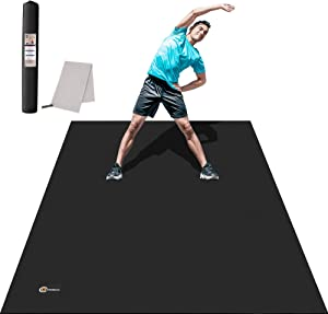 CAMBIVO Large Exercise Mat 6'x4'x7mm Thick Workout Mats for Home Gym Flooring Non Slip Durable Cardio Mat, Barefoot or Use with Shoes, Great for Plyo, Jump, MMA, Fitness, Sports Equipments