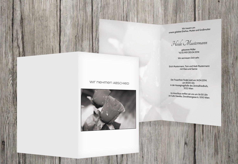 Tarjeta de luto Rose, Weiszlig;, 30 Karten