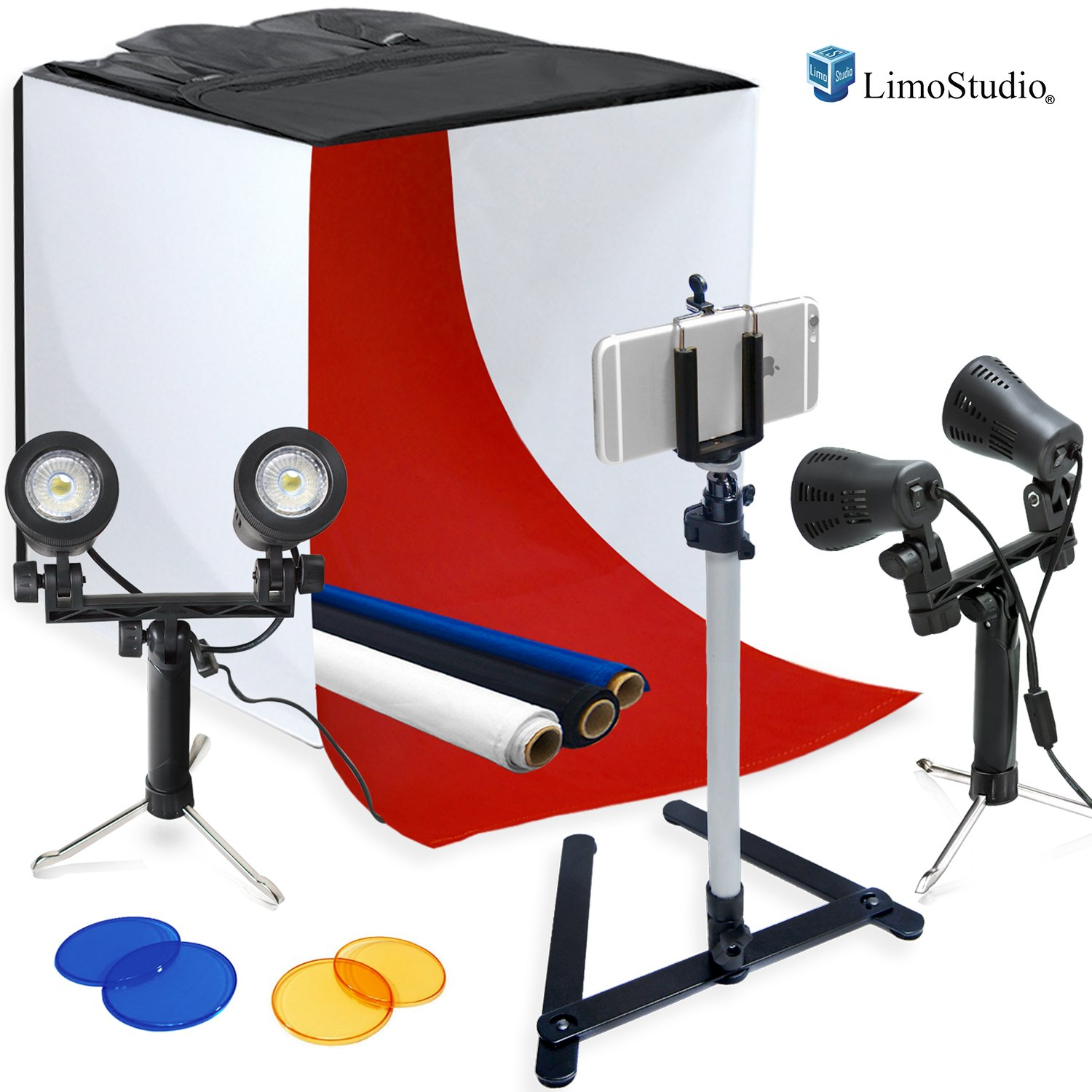 LimoStudio Photography Table Top Photo Light Tent Kit, 24'' Photo Light Box, Continous Lighting Kit, Camera Tripod & Cell Phone Holder AGG1069 by LimoStudio (Image #2)