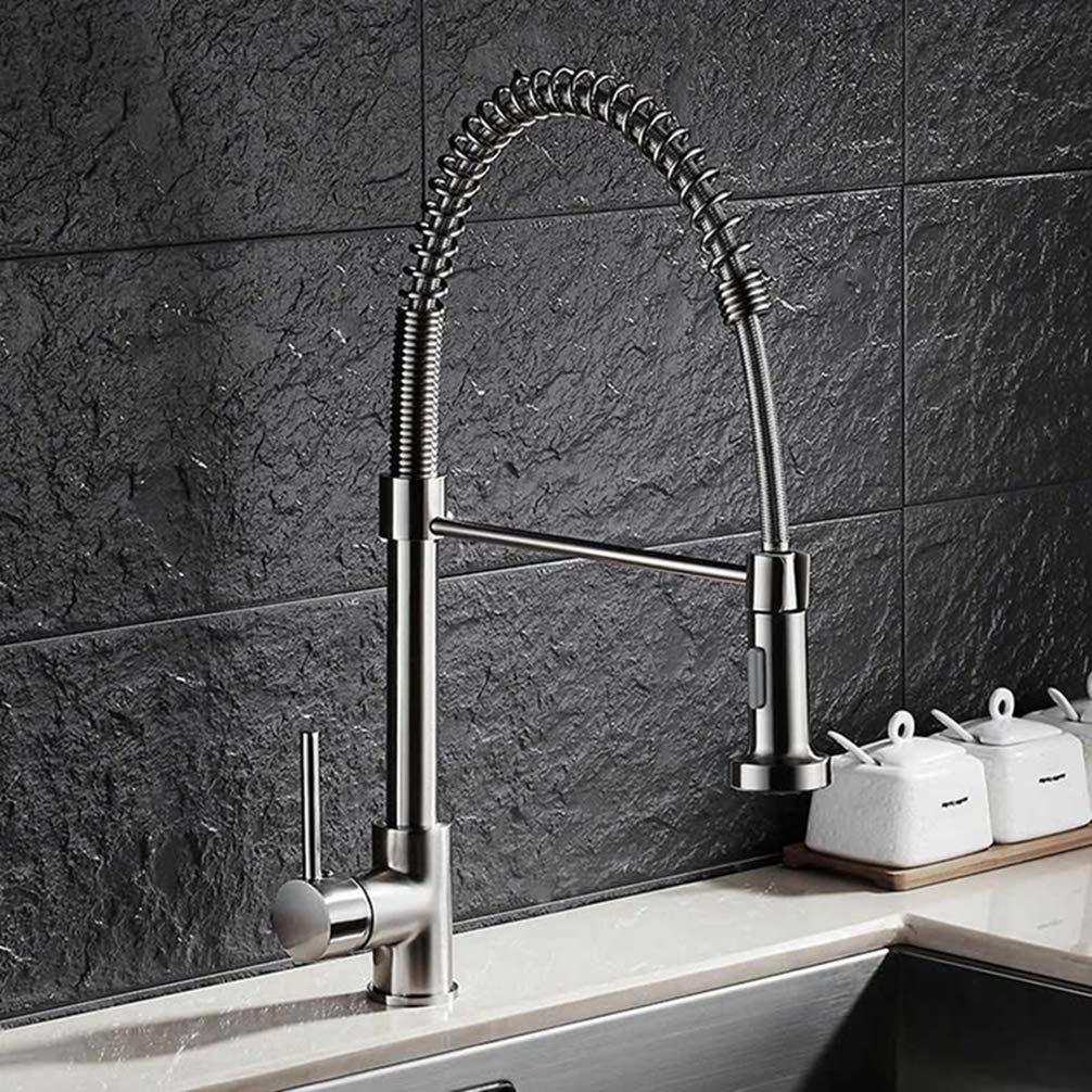 color FZHLR 360 Swivel Solid Brass Single Handle Kitchen Faucet Sink Mixer Tap Brush Nickel Pull Out Kitchen Faucet Deck Mounted