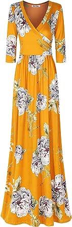 Bon Rosy Women's 3/4 Sleeve V-Neck Bohemian Printed Maxi Wrap Dress