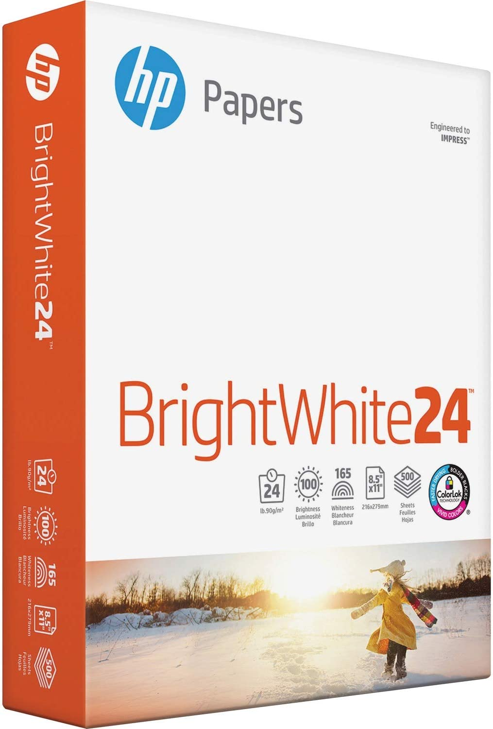 HP 203000 Bright White Inkjet Paper, 97 Brightness, 24lb, 8-1/2 x 11, 500 Sheets/Ream