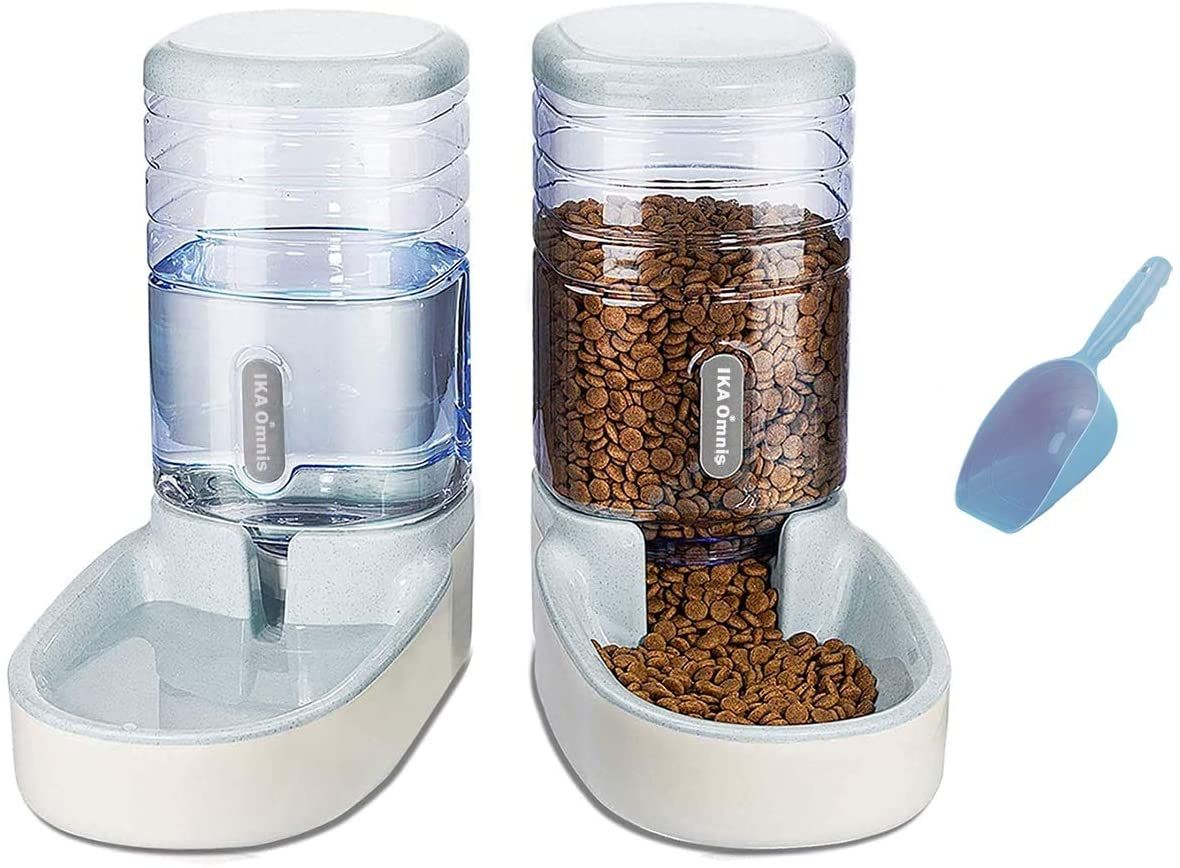 Ika Omnis Automatic Dog Cat Feeder and Water Dispenser Set with Food Scoop for Small/Medium Pet Puppy Kitten - Big Capacity 1 Gallon x 2