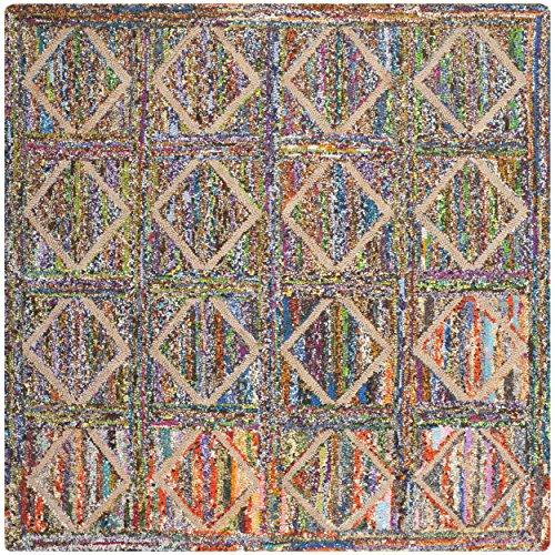 Safavieh Nantucket Collection NAN440A Handmade Multicolored Cotton Square Area Rug, 6 feet Square (6' Square)
