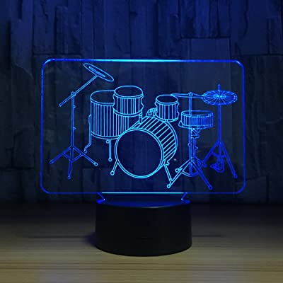 3D Optical Illusion Drum Set Night Light Lamp 7 Color Changeable Toy Drum Kit LED Desk Decoration Lamp Best Gift for for Music Lovers Fans …: Home Improvement