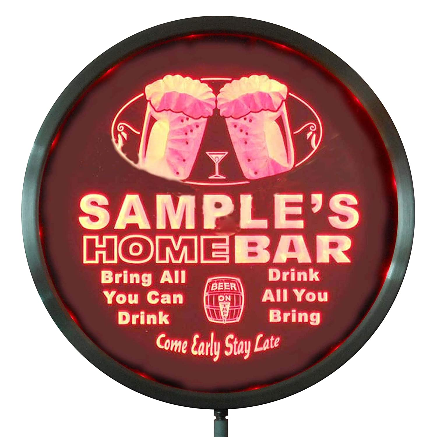 AdvPro Custom rs-p-tm-c Name Personalized Custom Home Bar Beer Round LED Sign 10