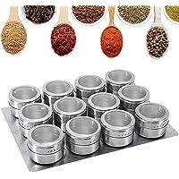GoMaihe Magnetische Roestvrijstalen Kruidenpotjes 12 Stuks Set, Ronde kruidenpotjes Kruiden Shakers, Kruidencontainer…