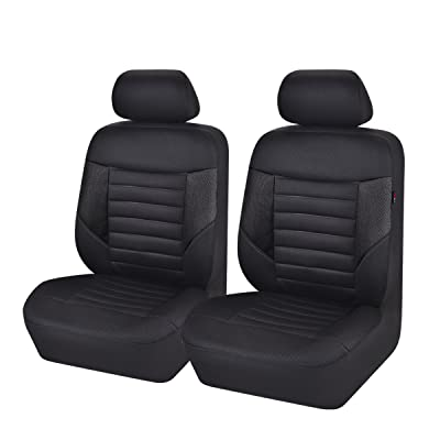 CAR PASS 6PCS Super Universal Fit Front Car Seat Covers Set Package-Fit for Vehicles,Black and Gray with Composite Sponge Inside,Airbag Compatiable (Black): Automotive