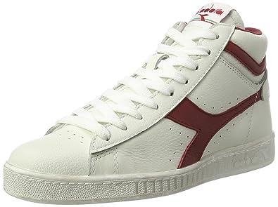 Diadora Game L High Waxed Skate Shoe, White/Red Pepper, 4 M US