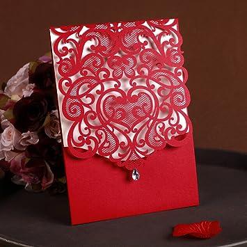 Amazon Com Womhope 50 Pcs Classic Red Color Laser Cut Lace Card