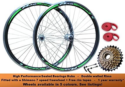 Juego de ruedas delanteras y traseras de 26 pulgadas para bicicleta de montaña QR MTB con ...