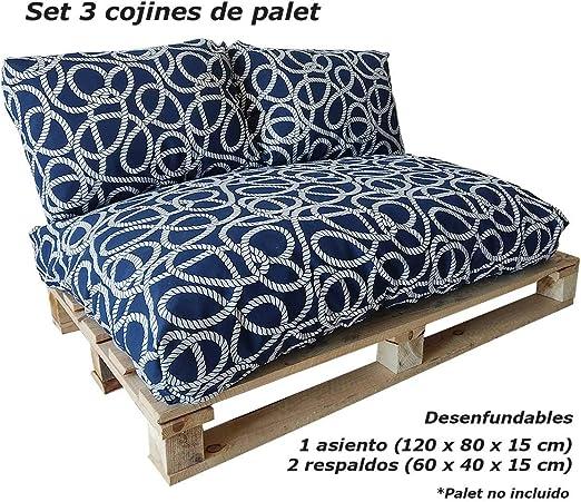 VIP HOGAR Set 3 Cojines desenfundables para palets (1 Asiento + 2 ...