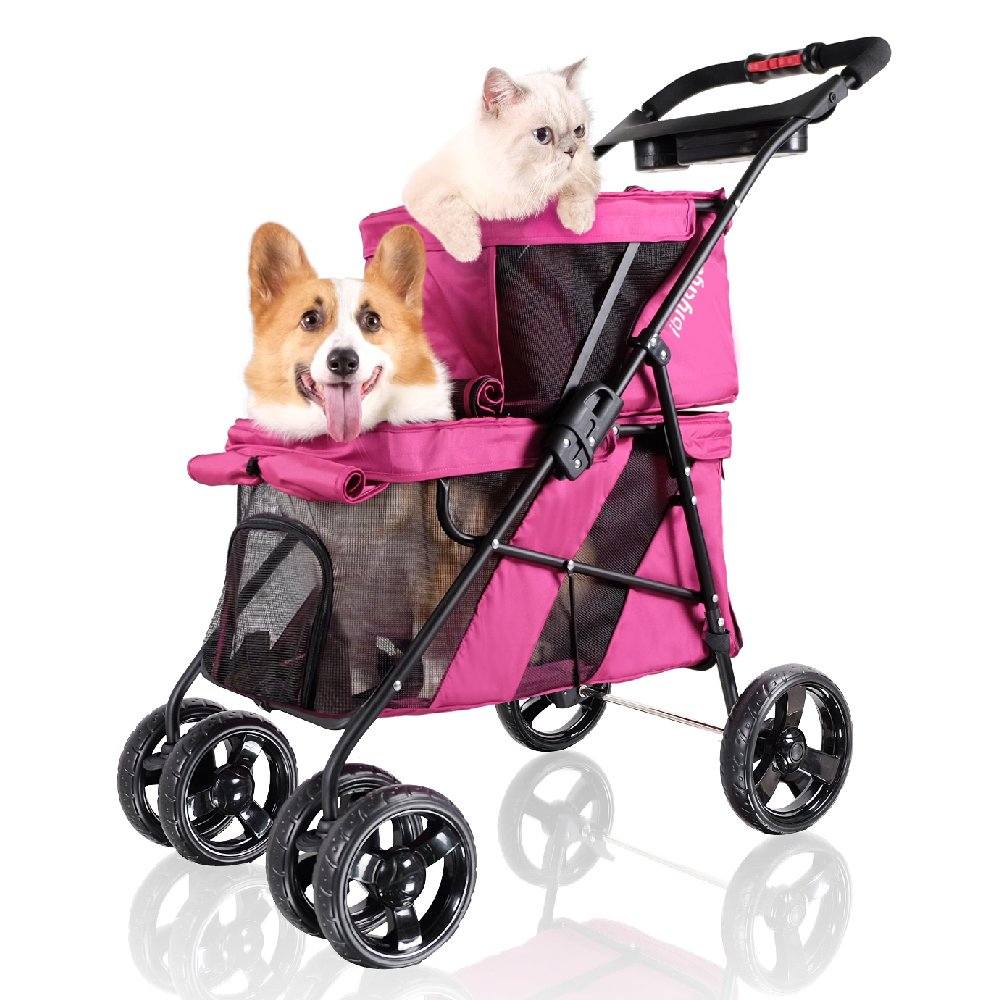 Double Pet Strollers for Dogs and Cats, 4 Wheel – Premium Dog Stroller for Twin or Multiple Small and Medium Pets…