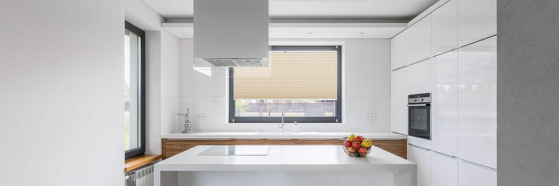 Rollo Studio Moderner Crushed Optik, Fenster Plissee auf Maß, Maß, Maß, ohne Bohren mit Neu Klemmfix Smartfix Jalousie System, Viele Größen und Farben, für alle Fenster, Fensterrollos, Weiß B07MZYMKD6 Plissees cb64c5