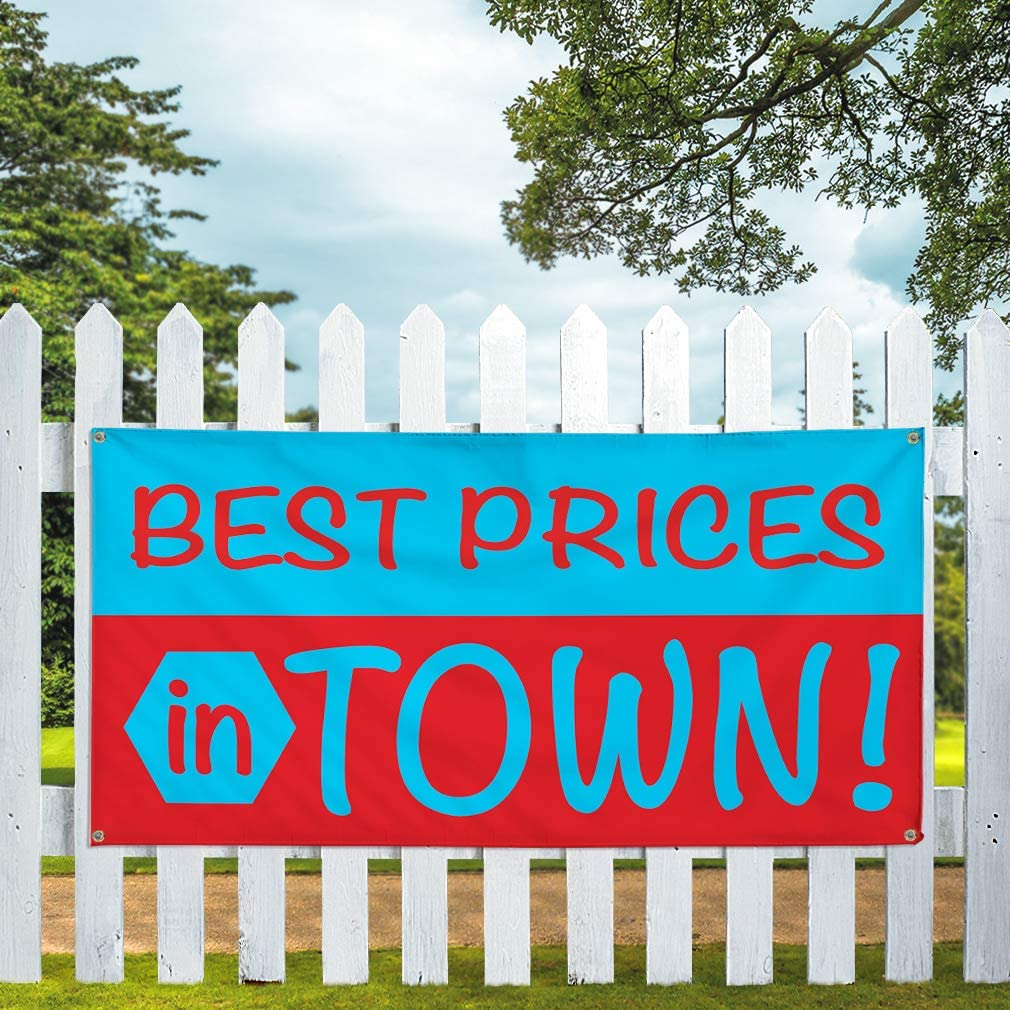 Vinyl Banner Multiple Sizes Best Prices in Town Advertising Printing Business Outdoor Weatherproof Industrial Yard Signs Blue 10 Grommets 60x144Inches