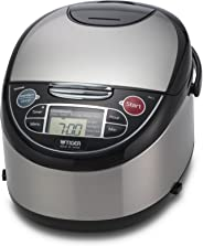 Tiger JAX-T10U-K 5.5-Cup (Uncooked) Micom Rice Cooker with Food Steamer & Slow Cooker, Stainless Steel Black (Renewed)